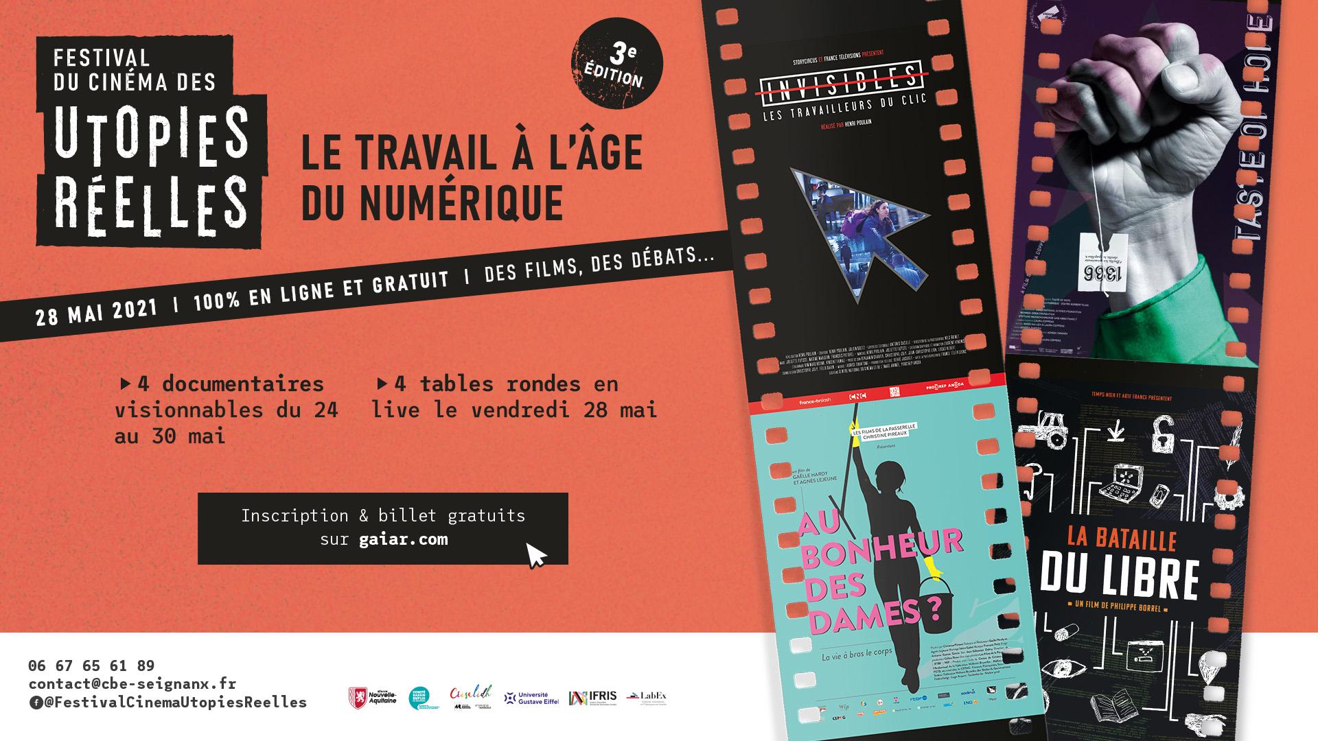 Festival du Cinéma des Utopies Réelles vendredi 28 mai 2021