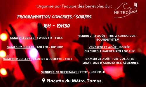 Programmation 2021 concerts/soirées au Metroloco